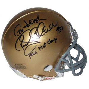 Rocky Bleier Autographed Notre Dame Fighting Irish Mini Helmet w/ Inscriptions