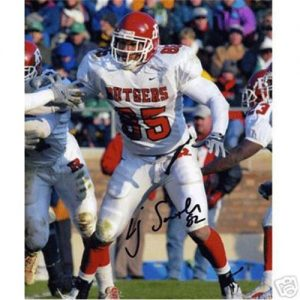 L.J. Smith Autographed Rutgers Scarlet Knights (White Jersey) 8x10 Photo