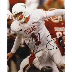 Chris Simms Autographed Texas Longhorns (White Jersey) 8x10 Photo