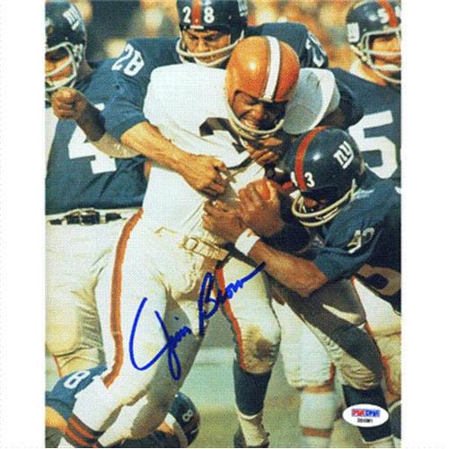 Jim Brown Autographed Cleveland Browns (White Jersey) 8x10 Photo