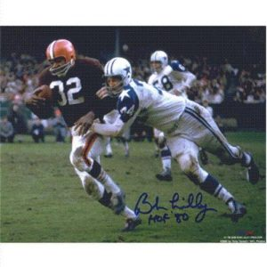 Bob Lilly Autographed Dallas Cowboys (Tackling Jim Brown) 8x10 Photo