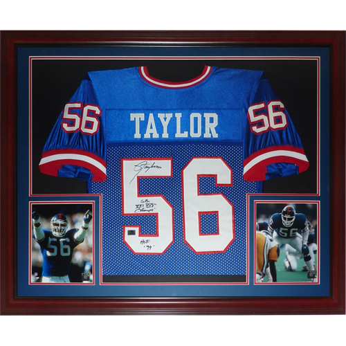 huge discount f130a 1feaf Lawrence Taylor Autographed New York Giants (Blue #56) Deluxe Framed Jersey  w/
