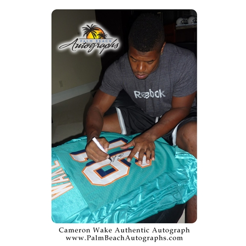 buy online 6252e d17e4 Cameron Wake Autographed Miami Dolphins (Teal #91) Deluxe Framed Jersey -  Wake Holo
