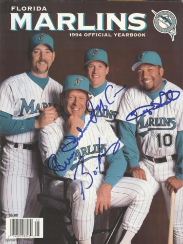 Jeff Conine , Bryan Harvey , Rene Lachemann And Gary Sheffield Autographed Florida Marlins 1994 Official Yearbook - 40 Additional Signtaures Inside