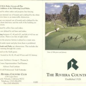 Steve Elkington Autographed The Riviera Country Club Golf Scorecard - 1995 PGA Championship