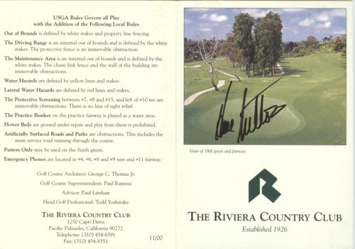 Hal Sutton Autographed The Riviera Country Club Golf Scorecard - 1983 PGA Championship