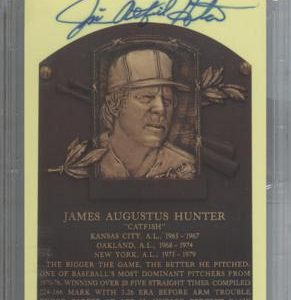 "Jim ""Catfish"" Hunter Autographed Baseball Hall of Fame (Oakland A's) HOF Plaque Postcard - PSADNA Slab"