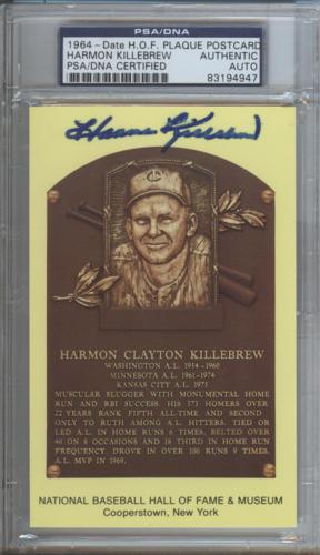 Harmon Killebrew Autographed Baseball Hall of Fame (Minnesota Twins) HOF Plaque Postcard - PSADNA Slab