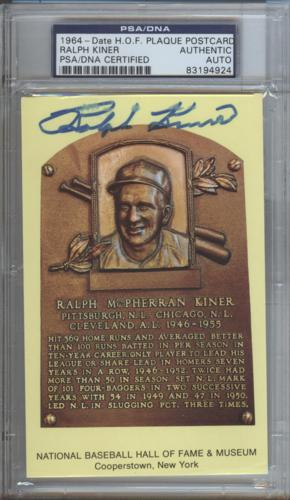 Ralph Kiner Autographed Baseball Hall of Fame (Pittsburgh Pirates) HOF Plaque Postcard - PSADNA Slab