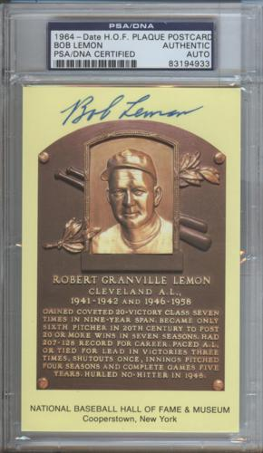 Bob Lemon Autographed Baseball Hall of Fame (Cleveland Indians) HOF Plaque Postcard - PSADNA Slab