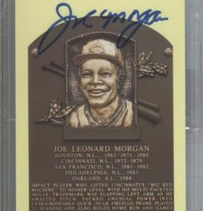 Joe Morgan Autographed Baseball Hall of Fame (Cincinnati Reds) HOF Plaque Postcard - PSADNA Slab