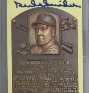 Duke Snider Autographed Baseball Hall of Fame (Los Angeles Dodgers) HOF Plaque Postcard - PSADNA Slab