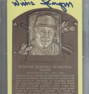Willie Stargell Autographed Baseball Hall of Fame (Pittsburgh Pirates) HOF Plaque Postcard - PSADNA Slab