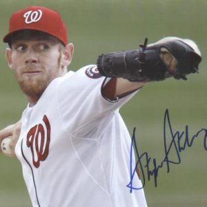Stephen Strasburg Autographed Washington Nationals (White Horiz) 8x10 Photo
