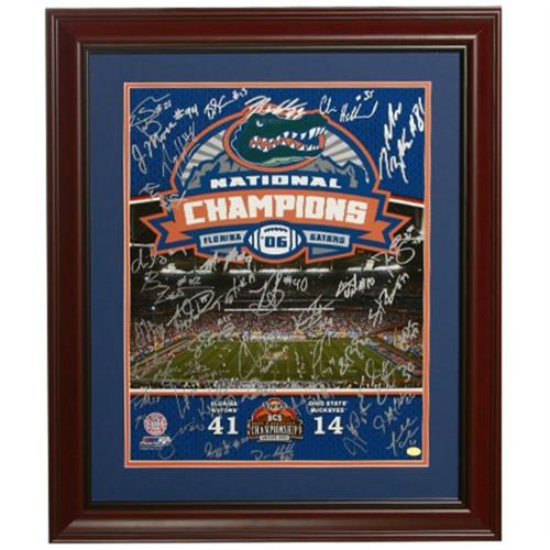 2006 Florida Gators National Championship Team and Urban Meyer Autographed (BCS in Silver) Deluxe Framed 16x20 Composite Photo - 45 Signatures