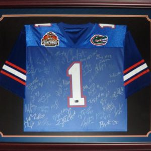 2006 Florida Gators National Championship Team and Urban Meyer Autographed (Blue #1) Deluxe Framed Jersey - 45 Signatures