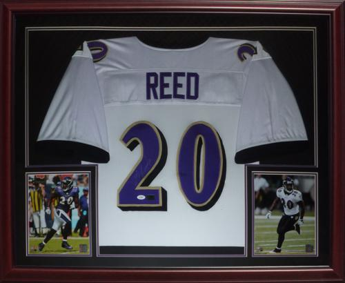 lowest price 0d22c 7cfd7 Ed Reed Autographed Baltimore Ravens (White #20) Deluxe Framed Jersey - JSA
