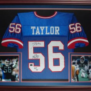 "Lawrence Taylor Autographed New York Giants (Blue #56) Deluxe Framed Jersey w/ ""SB XXI XXV Champs, HOF 99"""