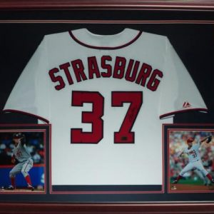 Stephen Strasburg Autographed Washington Nationals (White #37) Deluxe Framed Jersey
