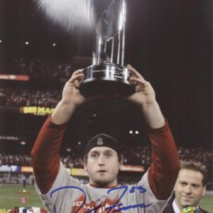 David Freese Autographed St. Louis Cardinals (World Series Trophy) 8x10 Photo