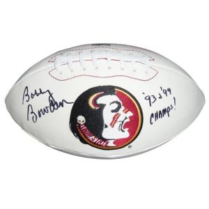 "Bobby Bowden Autographed Florida State FSU Seminoles Logo Football w/ ""93 99 Champs"""