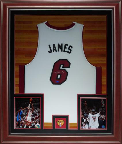 best cheap 2ab09 4e7e6 LeBron James Autographed Miami Heat (White #6) Deluxe Framed Jersey - UDA