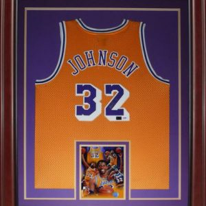 Magic Johnson Autographed Los Angeles Lakers (Yellow #32) Deluxe Framed Jersey - PSADNA