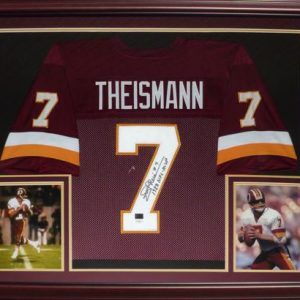 Joe Theismann Autographed Washington Redskins (Red #7) Deluxe Framed Jersey