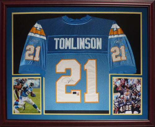 free shipping 1efed 940e9 Ladainian Tomlinson Autographed San Diego Chargers (Baby Blue #21) Deluxe  Framed Jersey