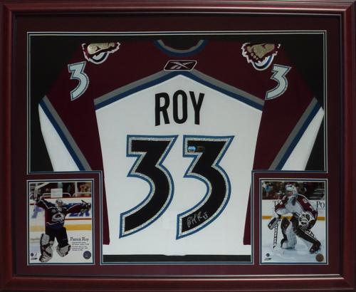 new arrival b2191 19b01 Patrick Roy Autographed Colorado Avalanche (White #33) Deluxe Framed Jersey  - MM