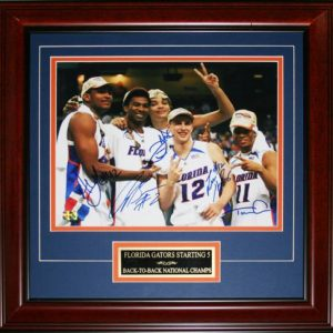 "Florida Gators ""Starting 5"" (Brewer , Green , Horford , Humphrey , Noah) Autographed (2007 Final Four) Deluxe Framed  11x14 Photo"