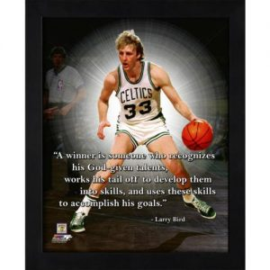 "Larry Bird Boston Celtics (Dribbling) Framed 11x14 ""Pro Quote"""