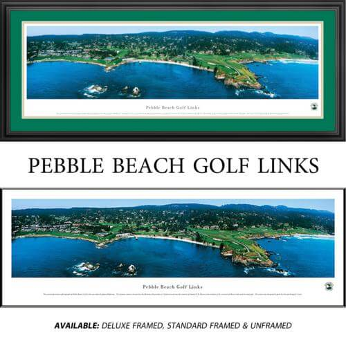 Pebble Beach Golf Links Framed Golf Course Panoramic