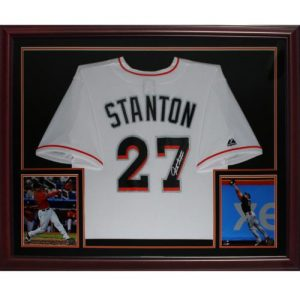 Giancarlo Mike Stanton Autographed Miami Marlins (White #27) Deluxe Framed Jersey