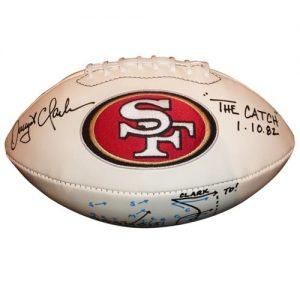 "Dwight Clark Autographed San Francisco 49ers Logo Football with Full Drawn Out Play ""The Catch"""