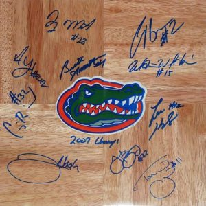 2006-07 Florida Gators Team Autographed 1'x1' Parquet Floor