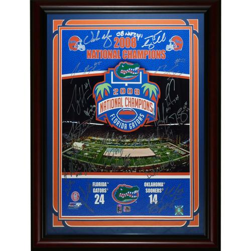 2008 Florida Gators National Champions Team Autographed (BCS in Silver) Deluxe Framed 16x20 Photo - 34 Signatures, Tim Tebow