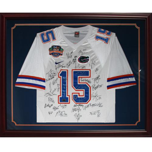 2008 Florida Gators National Champions Team And Urban Meyer Autographed (White #15 Nike) Deluxe Framed Jersey - 35 Signatures, Tim Tebow