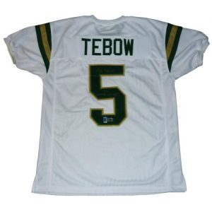 "Tim Tebow Autographed Nease High School (White #5) Jersey w/ ""05 State Champs"" - Tebow Holo"