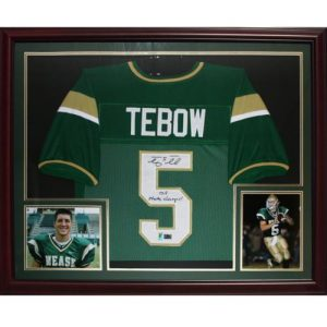 "Tim Tebow Autographed Nease High School (Green #5) Deluxe Framed Jersey w/ ""05 State Champs"" - Tebow Holo"