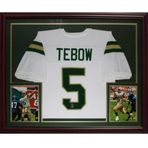 "Tim Tebow Autographed Nease High School (White #5) Deluxe Framed Jersey w/ ""05 State Champs"" - Tebow Holo"