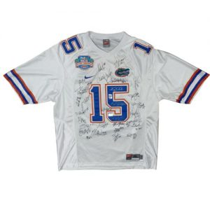 2008 Florida Gators National Champions Team Autographed (White #15 Nike) Jersey - 34 Signatures, Tim Tebow