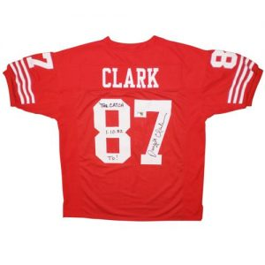 "Dwight Clark Autographed San Francisco 49ers (Red #87) Custom Jersey w/ ""The Catch 1-10-82 TD!"""