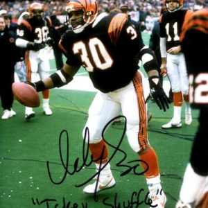 "Ickey Woods Autographed Cincinnati Bengals (Celebrating) 8x10 Photo w/ ""Ickey Shuffle"""