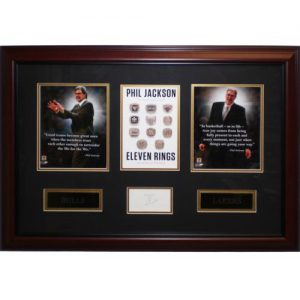 "Phil Jackson Autographed Chicago Bulls / Los Angeles Lakers ""Eleven Rings"" Deluxe Framed Piece"