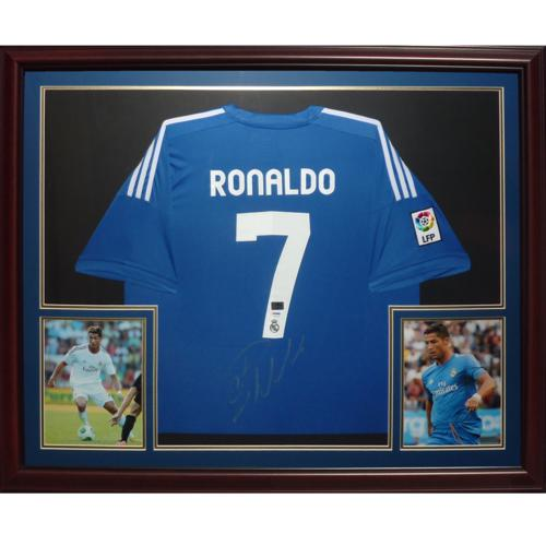 f358e75a168 Cristiano Ronaldo Autographed Adidas Real Madrid (Blue  7) Deluxe Framed  Soccer Jersey - PSADNA