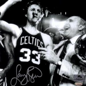 Larry Bird Autographed Boston Celtics (Red Auerbach with Cigar) 8x10 Photo - Bird Holo