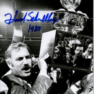 "Howard Schnellenberger Autographed Miami Hurricanes (BW with Trophy) 8x10 Photo w/ ""1983"""