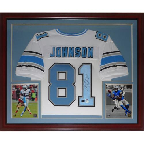 huge selection of 37dcd 9a198 Calvin Johnson Autographed Detroit Lions (White #81) Deluxe Framed Jersey