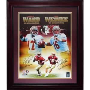 "Charlie Ward and Chris Weinke Autographed FSU Florida State Seminoles (Collage) Deluxe Framed 16x20 Photo w/ ""93 Heisman"" , ""2000 Heisman"""